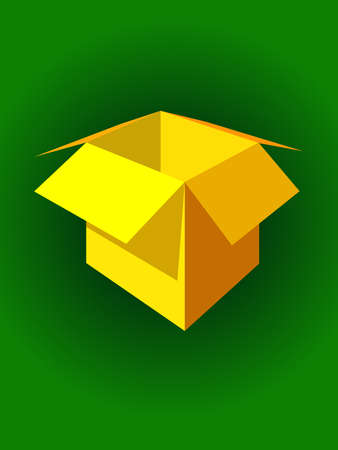 Yellow box packing for gifts. reality picture, vector illustration Illustration
