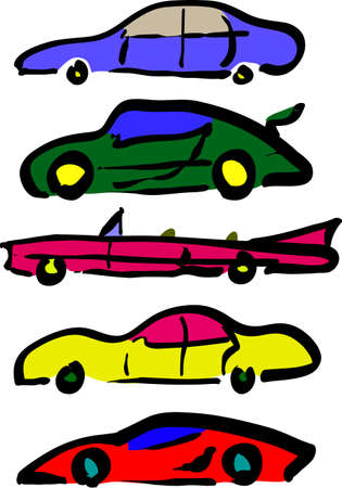 parked: Set of funny colorful cartoon cars, a-la child scetch. Vector illustration