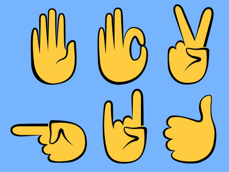 gesture set: Hand sign and gesture collection isolated over white background, illustration set