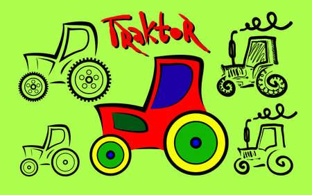 scetch: Cartoon Farm Tractor, simple line scetch, vector illustration
