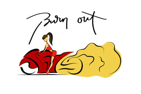 wheelspin: Extreme sport, brave woman on motorcycle, stunt burn-out, vector illustration Illustration