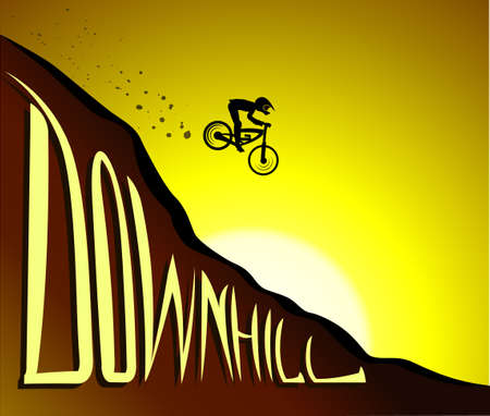 Silhouette of a cyclist in wild mountain nature landscape, downhill,  vector illustration