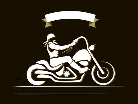silueta ciclista: Jinete de la motocicleta. Brutal moto, ilustración Custom Chopper vector vendimia