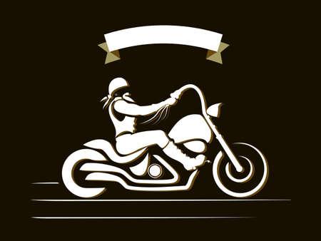 motorbikes: Motorcycle rider. Custom chopper vintage brutal moto, vector illustration