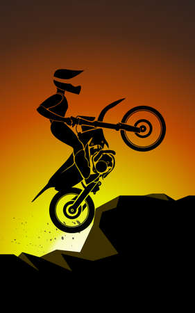 off road biking: Off road sport Motorcycle. vector colorfull illustration