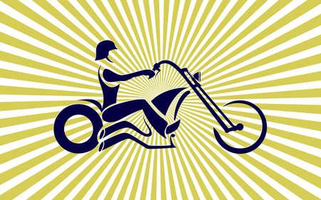 gang member: Motorcycle rider. Custom chopper vintage moto, american style. vector illustration Illustration
