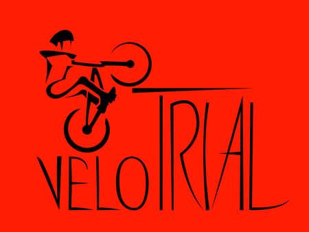 stunt: Mountain bike trials. Jump stunt, extreme biker.  Vector illustration
