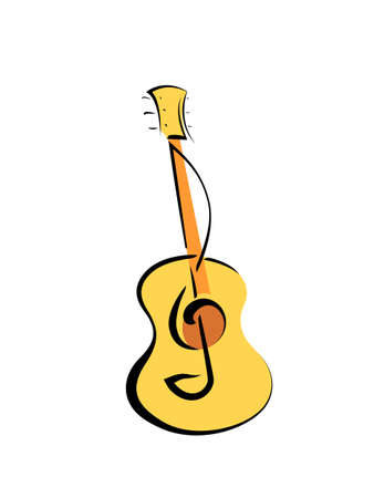Music Poster - Acoustic Guitar Instrument And Treble Clef. Vector ...