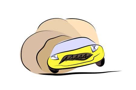 drifting: Vector illustration of yellow cartoon sportcar fun drifting