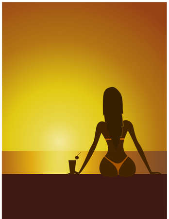tropical sunset: Tropical Sunset with Girl silhouette, cocktail on seaside, vector illustration