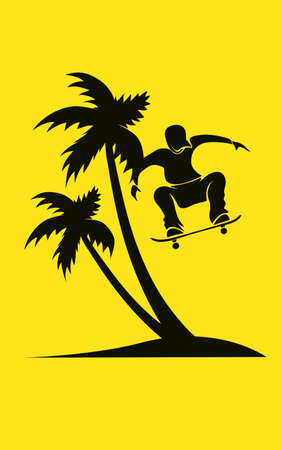 palm pilot: Summer scene with palm tree on yellow background and skate rider
