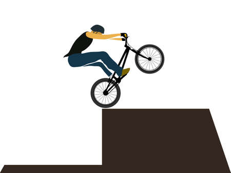 Bike trial rider jump on obstacle, extreme sport