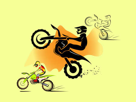 dirtbike: Off road sport Motorcycle. in sand hill. vector set illustration Illustration