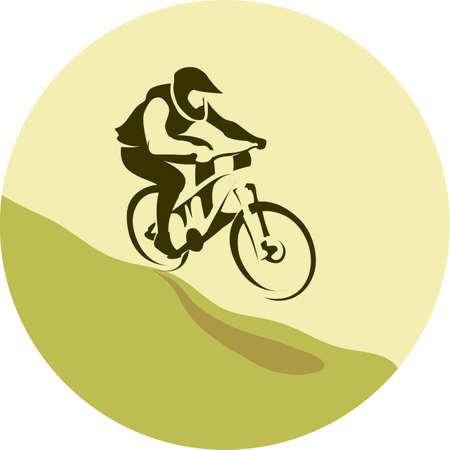 Mountain bike rider in wild mountain track background illustration vector 向量圖像