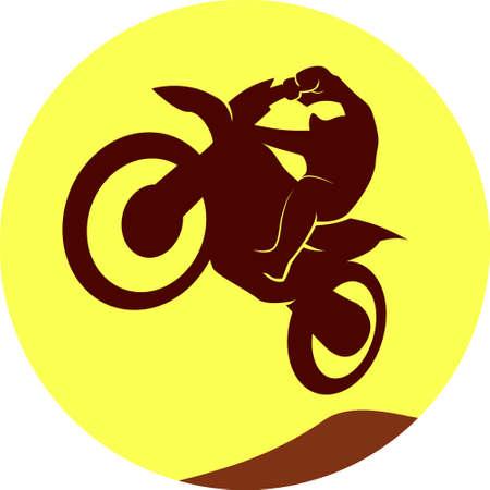 racer: Motocross enduro racer dark silhouette on round background. Vector sign Illustration