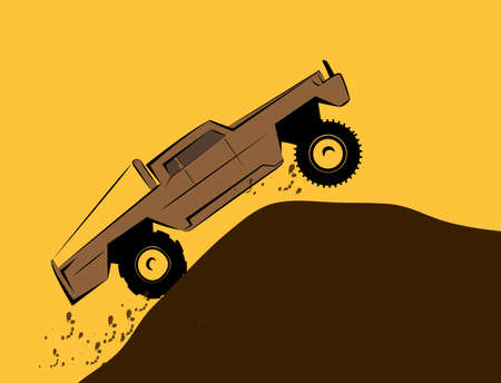 Off-road big pick-up car rides on top of mountain. Vector illustration.