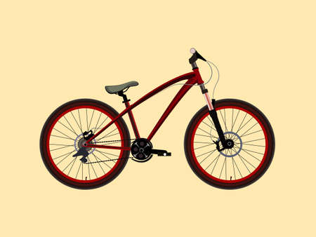 mtb: MTB Dirt street extreme sport red Bicycle. Vector illustration