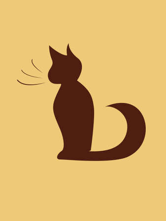 cat silhouette: Black cartoon cat silhouette, vector illustration Illustration