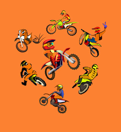fmx: Vector colorfull illustration of motorcycle jumping - set of motocross freestyle jump isolated