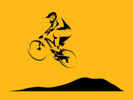 dirt bike: Mountain bike rider dirt rider track background vector illustration