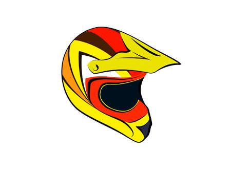 jaune rouge: Orange red yellow helmet motocross enduro atv Vector illustration