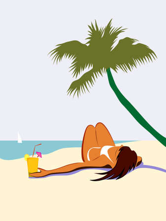 Sunbathing girl on the beach with cocktail under the palm tree vector illustration Illustration