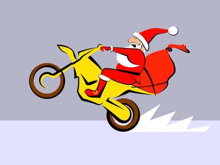Santa Claus fast ride motorcycle Vector illustration 向量圖像