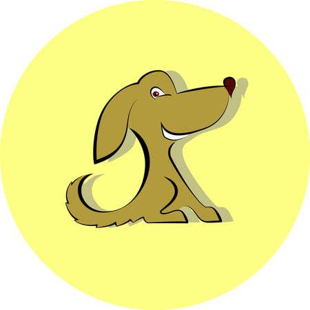 wagging: Cute dog cartoon Vector illustration