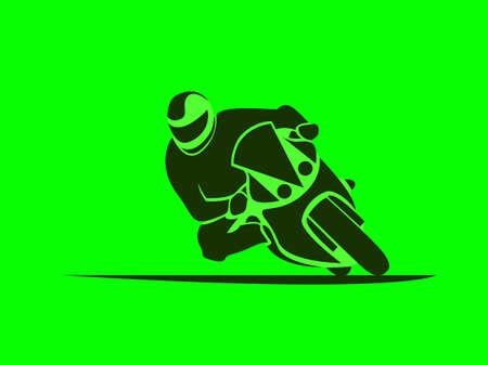 Ilustración del vector del corredor de la motocicleta en la moto deportiva