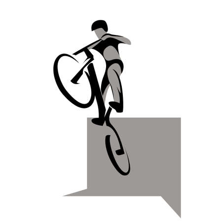 obstacle: Bikycle trial rider jumps from obstacle, extreme sport, vector illustration Illustration