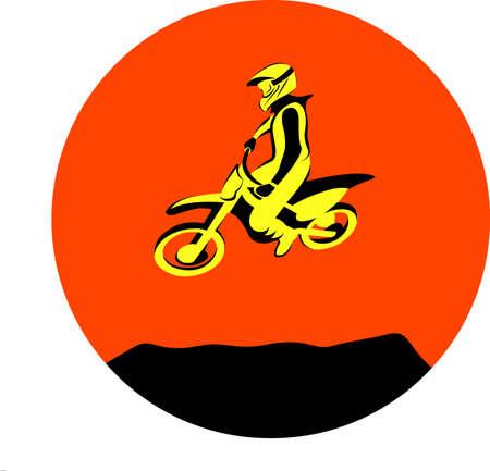 freeride: Silhouette Motocross jump rider on a motorcycle. Dirt rider Vector illustrations.