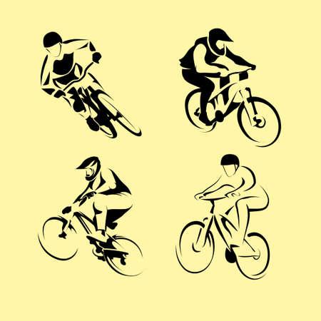 bicicleta: Ciclistas en bicicletas, los iconos conjunto aislado, ilustraci�n vectorial. La gente montando en bicicleta. ciclistas y montar en bicicleta deporte y el ejercicio