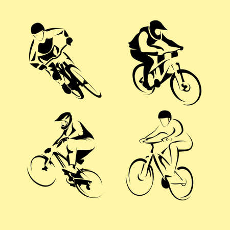 Cyclists on bikes, icons set isolated, vector illustration. People riding bikes. bikers and bicycling Sport and  exercise