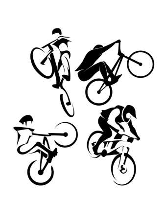 bicycling: Cyclists on bikes, icons set isolated, vector illustration. People riding bikes. bikers and bicycling Sport and  exercise