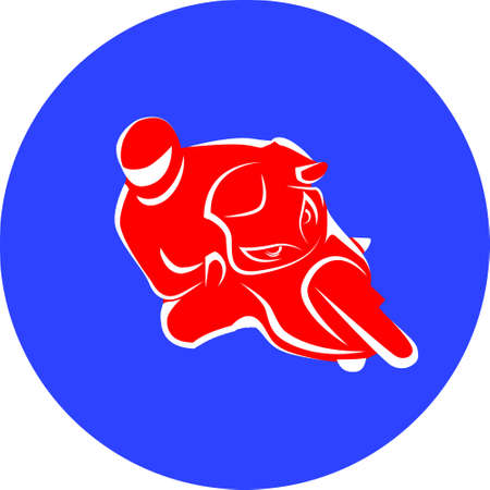 Vector illustration of motorcycle racer on sportbike red sign in blue round