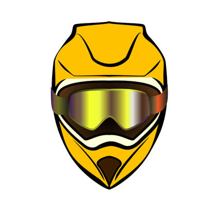 Motocross extreme helmet. Icon Color motorcycle vector illustration