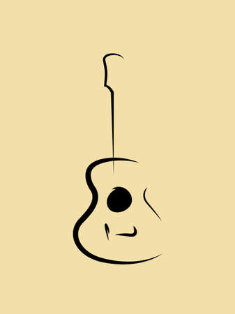Acoustic guitar line icon Vector illustration
