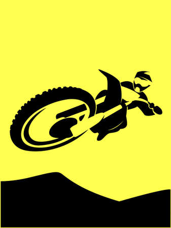 A silhouette of a motorcycle racer dird rider high jump Vector illustration