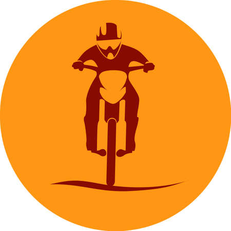 dirt bike: Dirt Bike Motorcycle Rider sign in round Vector illustration Illustration