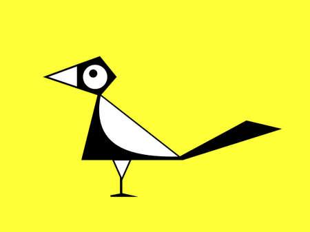 Vector illustratie cartoon ekster op gele achtergrond, vector teken
