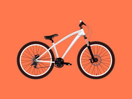 mtb: MTB Dirt street extreme sport white Bicycle. Vector illustration