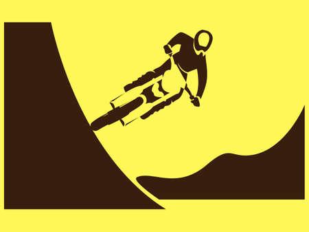 freeride: Motorcycle Rider freeride racer freestyle jump trick Illustration Illustration