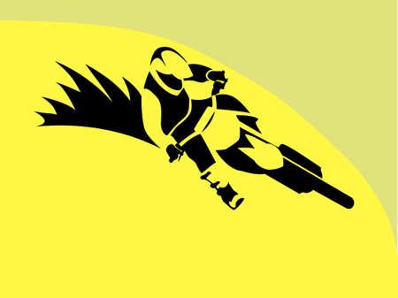 Ruiter van de Motorfiets motorcross freeride racer freestyle Illustratie