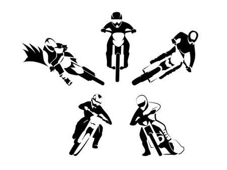 fmx: Illustration set of motocross enduro motor racer