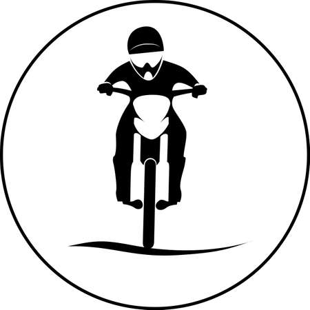dirt bike: Dirt Bike Motorcycle Rider sign in round illustration Illustration