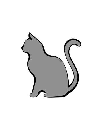 gray cat: Gray silhouette of cat illustration. Illustration