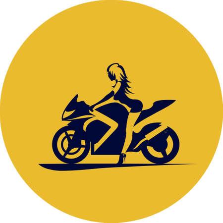 motorrad frau: Zeichnung M�dchen auf Sportmotorrad