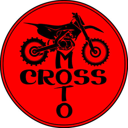 dirtbike: Motocross dirt-bike round red sign with lettering illustration Illustration