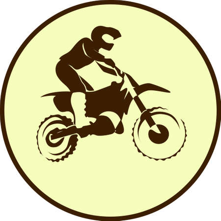 fmx: Motocross endure background. Silhouette of a man who rides on a motorbike .