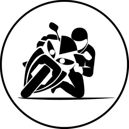 gp: illustration of motorcycle racer on sportbike